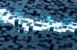 Glowing black and blue squares background pattern 3D rendering - 243814143