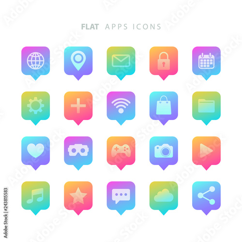 Set of color gradient flat apps icons. Vector illustration.
