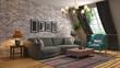Leinwandbild Motiv Interior of the living room. 3D illustration
