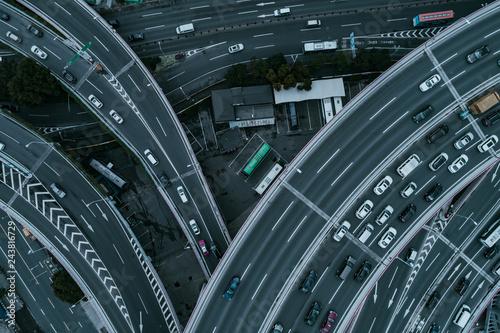 Aerial view of Nanpu Bridge Nanpu Bridge Approach Bridge in Shanghai  - 243816729