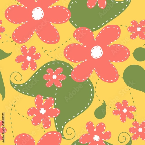 Cute colorful floral pattern, hand drawings of flowers and leaves, modern decoration in embroidery style.  - 243819572