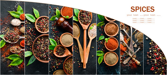 Background of spices. Photo collage of pepper and spices. Top view. On a black background. © Yaruniv-Studio