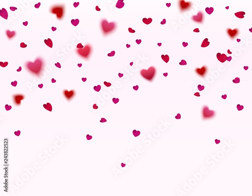 Pink and red hearts confetti falling effect isolated on white background. Vector symbol of love elements for Women Day, Valentine, wedding or greeting card design.
