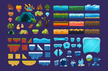 Collection of summer and winter fantasy landscape elements, user interface assets for mobile apps or video games vector Illustration © topvectors