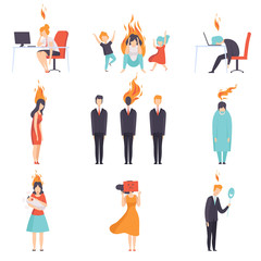 Exhausted tired people with burning brains set, emotional burnout concept, stress, headache, depression, psychological problems vector Illustration © topvectors
