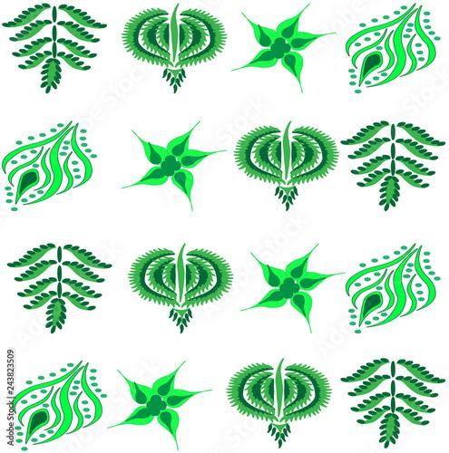 Herbal botanical leaves pattern.