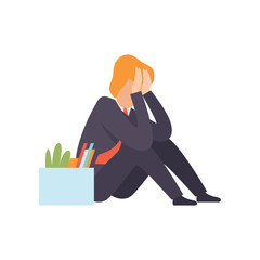 Sad business man dismissed from work, man sitting on the floor with a box of personal belongings, office worker fired from job, unemployed man vector Illustration © topvectors