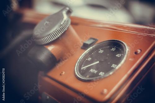 Speedometer of a vintage bus