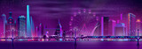 Modern metropolis nightlife cartoon vector panoramic background in neon colors. Illuminated skyscrapers buildings, Ferris wheel, high speed subway train moving on bridge over river or bay illustration - 243824958