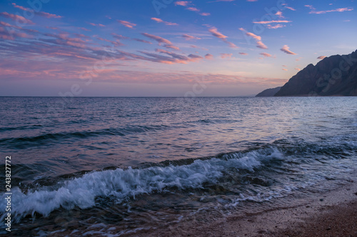 Summer landscape with sea and sunset