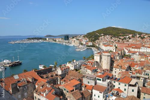 Sticker Panorama of the city of Split in Croatia