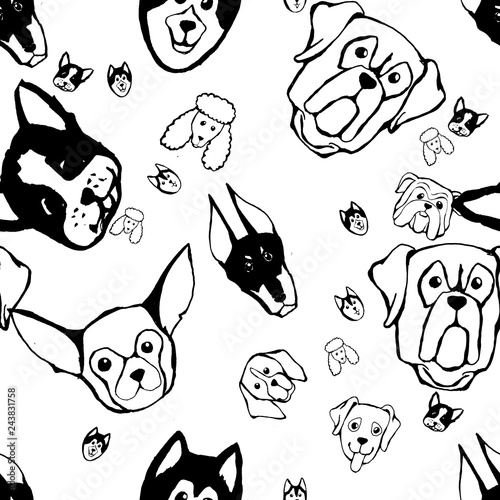 obraz lub plakat Seamless pattern with Dog breeds. Bulldog, Husky, Alaskan Malamute, Retriever, Doberman, Poodle, Pug, Shar Pei, Dalmatian