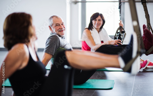 Leinwandbild Motiv A group of cheerful seniors in gym doing exercise with TRX.