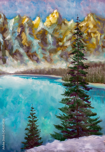 oil painting on canvas modern Green fir trees on emerald sea lake in mountains oil paint texture on canvas, background art illustration artwork © weris7554
