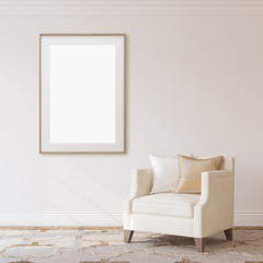 Interior and frame mockup. 3d rendering. © poligonchik