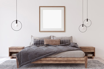 Interior and frame mockup. Bedroom. 3d rendering. © poligonchik