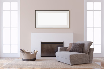Interior and frame mockup. Modern fireplace. 3d rendering. © poligonchik