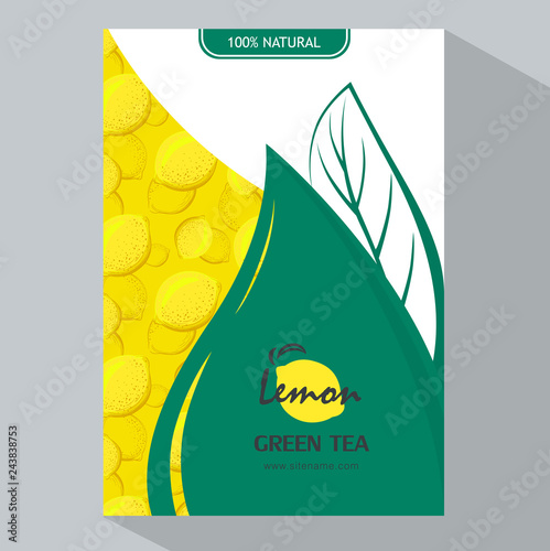 Packing template design of Lemon. Vector illustration lemon vertical banners. Design for juice, tea, ice cream, lemonade, jam, natural cosmetics, sweets and pastries filled with lemon, dessert menu. - 243838753
