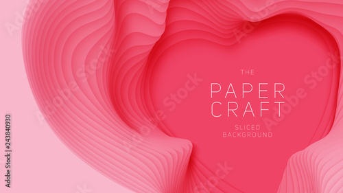 Vector 3d Abstract Background With Pink Paper Cut Heart Shape Light