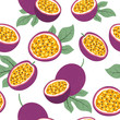 Seamless passion fruit pattern. Vector fruit background.