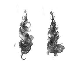 Black smoke isolated on white background © jamroenjaiman