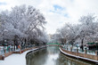 Beautiful Snow Landscape of Porsuk River with The Reflection of trees in Winter season, in Eskisehir, Turkey with beautiful sky view.