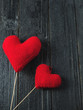 Two red hearts with copyspace