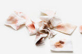 Dirty tissue on white background - 243867583