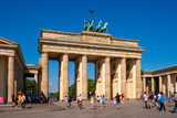 Berlin, Germany - Panoramic view of the Brandenburg Gate - Brandenburger Tor - at Pariser Platz square in historic quarter of West Berlin - 243868396