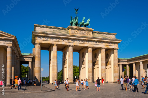 Berlin, Germany - Panoramic view of the Brandenburg Gate - Brandenburger Tor - at Pariser Platz square in historic quarter of West Berlin