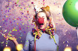 Leinwanddruck Bild - Karneval Frau Fasching Freude