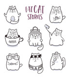 Fat cats vector set for greeting card design t-shirt print or poster - 243877122