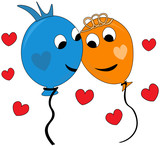 Happy couple of colorful balloons in love, blue and orange balloon, hearts around, celebrating Valentines day - 243877958