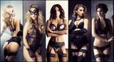 Different girls in sexy lingrie. Beautiful woman in underwear. Collage collection.