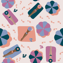 Summer people on the beach. Seamless Vector Pattern with Girls on the Beach under Umbrellas. © Artem