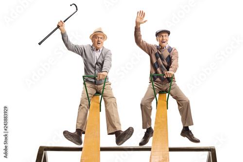Leinwandbild Motiv Funny seniors sitting on a seesaw