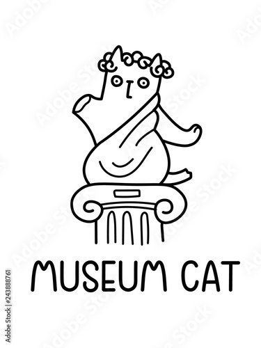 A Cartoon Vector Drawing Of A Damaged Old Ancient Statue Of Cat In Drapes, Standing On An Antique Column