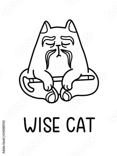 A Cartoon Vector Of An Old Wise Cat Sage With Moustache, Sitting In Yoga Pose And Holding A Cane