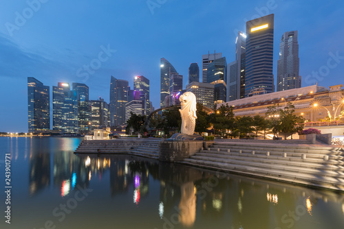 Singapore skyline at the Marina during twilight.Aerial view of Singapore business district for background