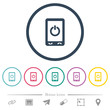 Mobile power off flat color icons in round outlines