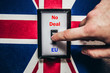 Switch with Brexit and England flag and inscription no Deal and EU