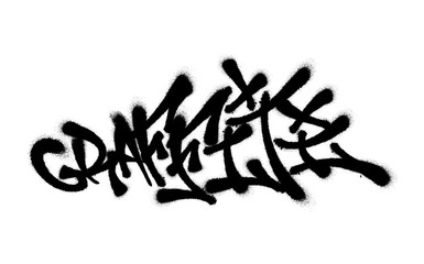 Sprayed graffiti font with overspray in black over white. Vector illustration.