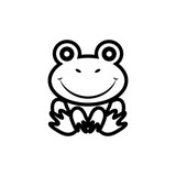 Beautiful silhouette design of a frog on a white background