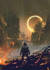 astronaut standing in a burnt city and looking at a yellow glowing ring in the dark sky, digital art style, illustration painting
