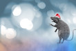 new year rat wearing a christmas hat render 3d, Sign for Year of Rat