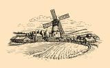 Rural landscape sketch. Farm, windmill and field. Vintage vector illustration - 243943182