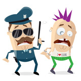 funny cartoon cop arresting a criminal - 243948558