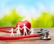 Leinwandbild Motiv Medical Stethoscope with Heart isolated on  background