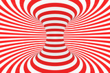 Fototapeta Fototapety do przedpokoju - Swirl optical 3D illusion raster illustration. Contrast red and white spiral stripes. Geometric torus image with lines, loops. © gurzart