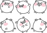 cartoon fat cute pig